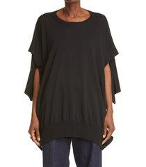 women's y's by yohji yamamoto adjustable sleeve jersey pullover, size 2 - black