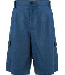 dolce & gabbana plain linen bermuda shorts - blue