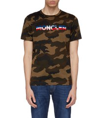 rubberised logo patch camouflage print t-shirt