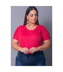 blusa camiseta t-shirt tecido sued urbania suede vermelha