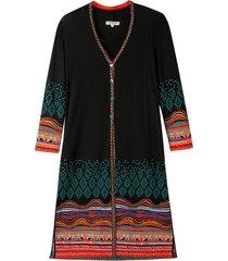 jacquard mantel met kleurig structuurpatroon, zwart-motief 42