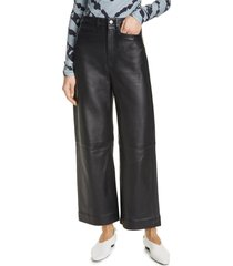 women's proenza schouler white label leather culotte pants, size 6 - black