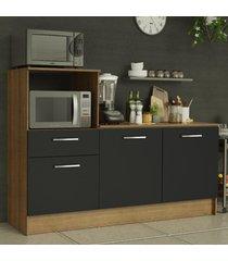 balcão madesa onix 180 cm 3 portas 1 gaveta e nicho para forno - rustic/preto marrom