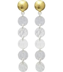 gurhan 24kt gold lush stiletto drop earrings - silver