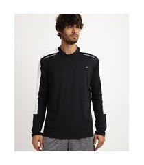 camiseta masculina running esporte ace com refletivo e meio zíper manga longa e gola careca preta