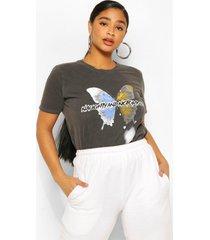 petite gebleekte butterfly t-shirt met tekst, grijs