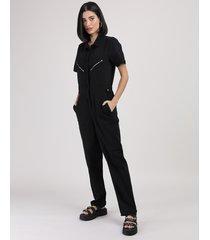 macacão feminino longo manga curta com bolsos e zíper preto