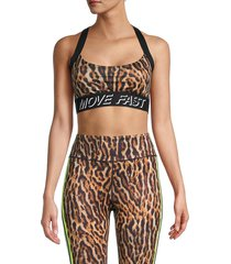 pam & gela women's leopard-print sports bra - natural - size s