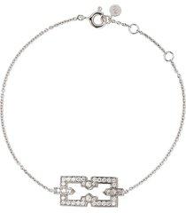 raphaele canot 18kt white gold skinny deco icon bracelet
