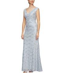 women's alex evenings scallop lace evening dress, size 18 - metallic