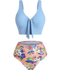 tropical flower ribbed tied high waisted tankini swimwear