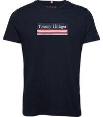 striped woven label tee t-shirts short-sleeved blå tommy hilfiger