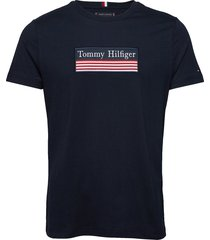 striped woven label tee t-shirts short-sleeved blå tommy hilfiger