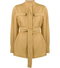 loro piana belted fitted jacket - neutrals