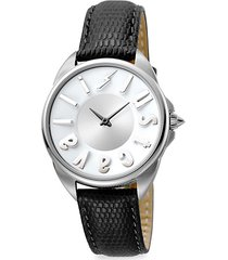logo stainless steel leather-strap watch