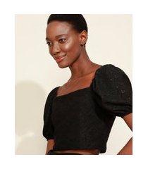 blusa de laise feminina mindset cropped manga bufante decote reto preta