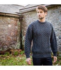 men's springweight new wool crew neck sweater charcoal xxl