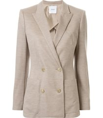 agnona cashmere double-breasted blazer - brown