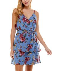 crystal doll juniors' floral-print tiered dress