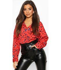 woven animal print shirt, red