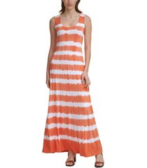 calvin klein tie-dyed knit maxi dress