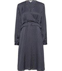 satin foulard wrap dress ls knälång klänning blå tommy hilfiger