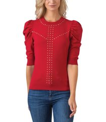 black label women's plus size embellished puff sleeve pullover sweater