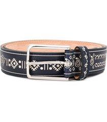 etro paisley graphic embossed belt - blue