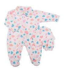 macacão de bebê juju rosa com touca e luva