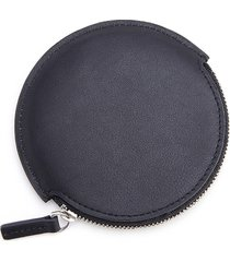 royce new york travel earbud leather carrying case - black