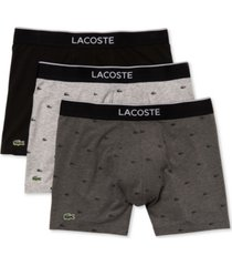 lacoste men's 3-pk. crocodile-print stretch boxer briefs
