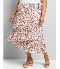 lane bryant women's wrap midi skirt 10/12 evelyn floral