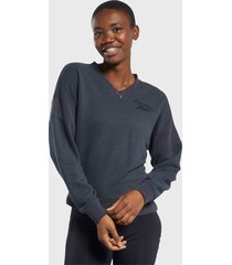 sweater reebok texture crew azul - calce regular