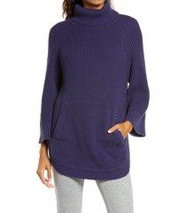 women's ugg raelynn turtleneck pullover, size medium - blue