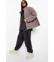 oversized gewatteerde faux fur teddy jas, grey