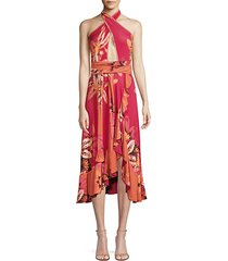 jersey floral halter wrap dress