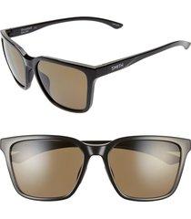 women's smith shoutout 57mm chromapop(tm) polarized square sunglasses - black/ gray green