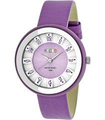 crayo unisex celebration lavender genuine leather strap watch 38mm
