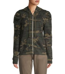 camo cotton full-zip hoodie