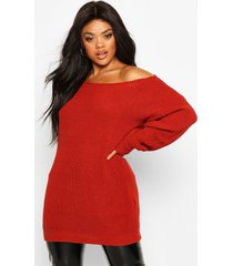 plus slash neck longline sweater, brick red
