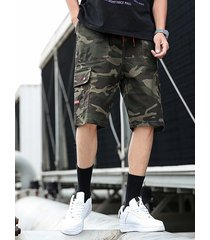 hombres summer camouflage letter overol shorts