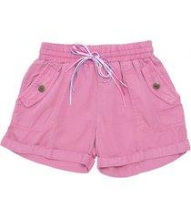 short chambray con cinturon rosado  pillin