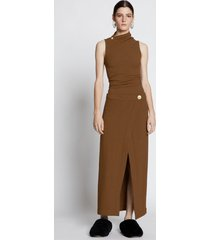 proenza schouler stretch crepe twisted wrap dress light loden/brown 8