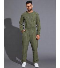 mono de cintura elástica de manga larga con bolsillo con cremallera para hombre mono
