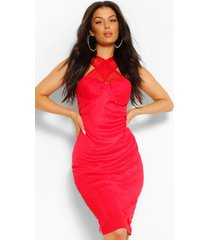 cross front mesh detail midi dress, red