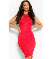 aan de voorkant gekruiste midi-jurk met meshdetail, rood