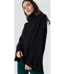 dilara x na-kd cozy polo knit sweater - black