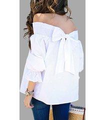 pajarita blanca espalda fuera del hombro mangas 3/4 blusas