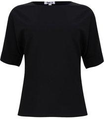 blusa cuello barco unicolor color negro, talla 8