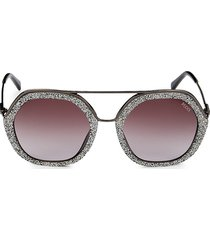 emilio pucci women's 53mm round embellished sunglasses - silver
